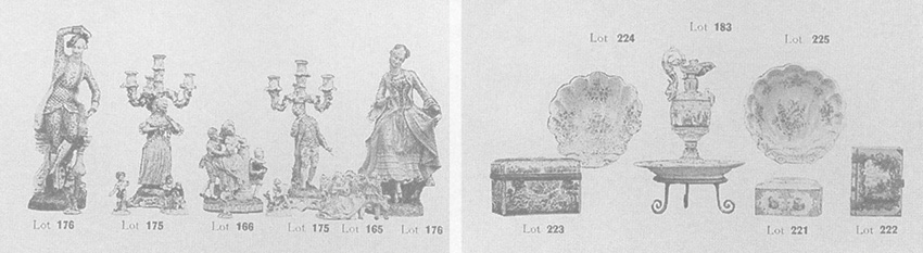 These items from the 1930 auction catalogue show the style of furniture and furnishings in the Hall.